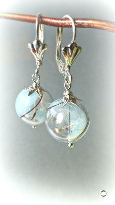 Dandelion Earrings Sky Blue Glass Aqua Seeds Jewelry Swirl Terrarium Real Flower  #dandelion #earrings #glass #jewelry #seeds #swirl #terrarium Pearl Earrings, Drop Earrings, Initial Bracelet, Real Flowers, Glass Jewelry, Terrarium, Dandelion, Seeds, Jewelry Accessories