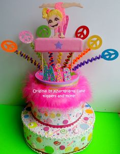 A cake topper with a gymnast and peace signs.This would go great with Abby's birthday party at the gym! Birthday Cake Toppers, Cupcake Toppers, Cupcake Cakes, Cupcakes, 5th Birthday Party Ideas, Party Fun, Birthday Parties, Gymnastics Cakes, Gymnastics Birthday