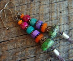 Jasper Turquoise Shell and Howlite Beaded Earrings by yuccabloom, $35.00