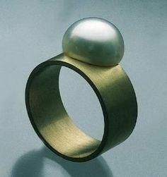 "Etsuko Sonobe - ring - gold 835, pearl (via Galerie Slavik, No. 106609) - "" WE EMBRACE ART & DESIGN."" entrenous by LE NOEUD www.enbyln.com"