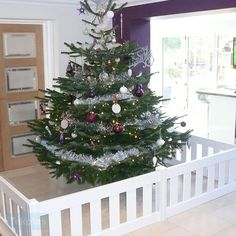 Chritsmas Tree Fence Guard to keep tree's safe and out of reach from children and pets. Christmas Tree Guard, Christmas Tree Fence, Large Christmas Tree, Christmas Puppy, Toddler Christmas, First Christmas, Christmas Gifts, Christmas Decorations, Holiday Decorating