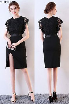 Shop Sexy Fitted Side Slit Black Party Dress with Lace online. SheProm offers formal, party, casual & more style dresses to fit your special occasions. Black Party Dresses, Trendy Dresses, Short Dresses, Formal Dresses, Dress Outfits, Fashion Dresses, Mermaid Evening Dresses, Black Cocktail Dress, Dress First