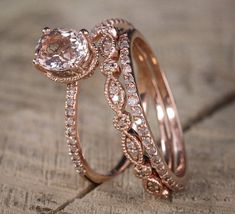 Pink Morganite rose gold engagement ring set Morganite Engagement ring Engagement ringMorganite Size- approx Shape-Oval Side Carat- approx diamonds or CZ are available, Please drop down the Options box to choose the side stones Matching Wedding Rings, Wedding Rings Simple, Wedding Rings Rose Gold, Wedding Rings Vintage, Rose Gold Engagement Ring, Vintage Engagement Rings, Unique Rings, Wedding Jewelry, Oval Engagement