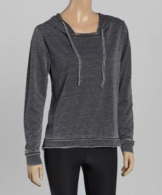 Another great find on #zulily! Black Burnout Fleece Hoodie by TROO #zulilyfinds