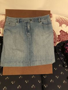 12 /& 14 Ladies Denim trim Waistline Woven Brown Mini Skirt sizes 8 10