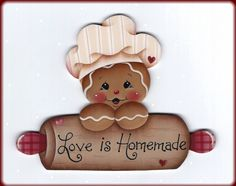 Love is Homemade Gingerbread Painting by GingerbreadCuties on Etsy