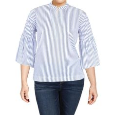 47f09af98 Lauren Ralph Lauren Womens Vesmire Blue Striped Blouse Top M BHFO 0651  789022866893