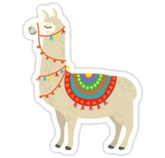 'Party Llama' Sticker by smalltownnc Diy Arts And Crafts, Handmade Crafts, Alpacas, Llama Drawing, Llama Arts, Llama Alpaca, Stickers, Paint Party, Sticker Design
