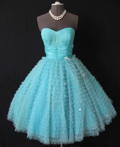 Caribbean blue old fashioned dress