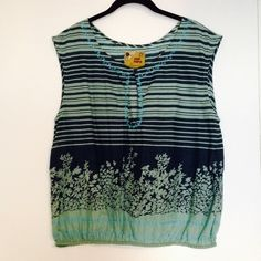 """Free People embroidered tank Adorable blue & green sleeveless top with embroidered detail. Size 12, which fits like a large. Chest measurement is 20"""" across. Excellent condition! bundles Free People Tops Tank Tops"""
