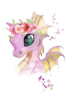Baby Dragon with Flower Crown