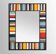 "Reclaimed Wood Mirror - ""Reclaimed Reflection""- Wood Stripes - 28x34 - Scrap wood art"