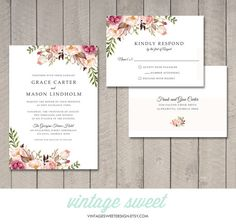 THIS LISTING INCLUDES:  One or Two Sided Wedding Invitation (5 x 7) and RSVP Card (4 x 5.5). The $20 fee covers the design of the items, as