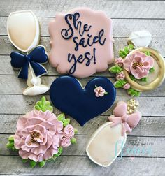 She said yes! 💕#sanantonio #sabaker #sanantoniotx #cookies #sugarcookies #bridalshower #alamoranch Blue Cookies, Tea Cookies, Royal Icing Cookies, Sugar Cookies, Frosted Cookies, Decorated Cookies, Wedding Cookies, Wedding Cake, Paint Cookies