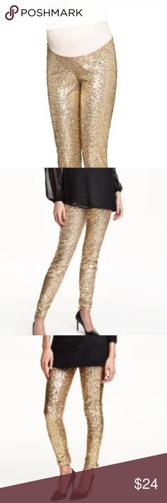 H&M gold glitter maternity leggings M NWT New with tags gold glitter maternity leggings. Hard to find. There is one spot on the leg where a few sequins look worn but not really noticeable. Only tried on. Flattering and comes with belly band H&M Pants Leggings