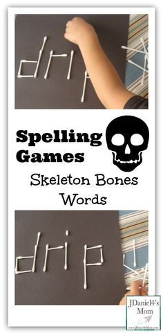 Q-tips make a great tool for playing spelling games like Skeleton Bone Words. Children can build their spelling words using this simple household item. Spelling Games, Spelling Activities, Spelling Words, Learning Activities, Spelling Practice, Educational Activities, Literacy Games, Kindergarten Literacy, Early Literacy