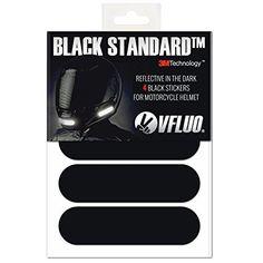 VFLUO BLACK STANDARD, Kit 4 bandes stickers rétro réfléchissants pour casque moto, 3M Technology, Noir
