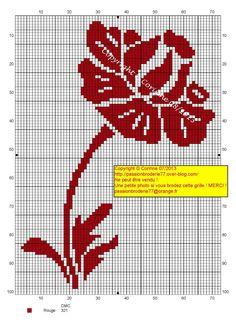 Jolie fleur monochrome (Pretty Red Monochrome Flower), designed by Corinne Thulmeaux, Passion Broderie 77 blogger.