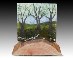 Like the stand as well as the glass Fused Glass Art, Stained Glass Art, Mosaic Glass, Delphi Glass, Fall Arts And Crafts, Epoxy Resin Wood, Glass Fusing Projects, Image Glass, Tree Art