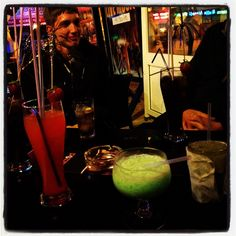 Long Island iced tea, tequila sunrise, grasshopper, mojito