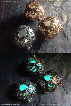 Silver Glow In The Dark Pendant Filigree by DarkOfTheMoonArts
