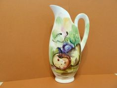 Ucago, Pitcher, Fruit Design, Single Handle, Brush Stroke Designs by BjsDoDads on Etsy