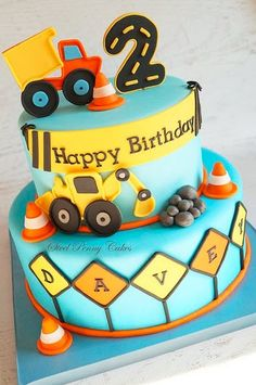 Children's Birthday Cakes - Construction themed birthday cake inspired by the party decor. 2 Year Old Birthday Party, 2nd Birthday Boys, Birthday Party Desserts, Cake Party, Boy Toddler Birthday Party Ideas 2 Year Olds, Toddler Birthday Cakes, Baby Boy Birthday Cake, 2nd Birthday Party Themes, Second Birthday Ideas