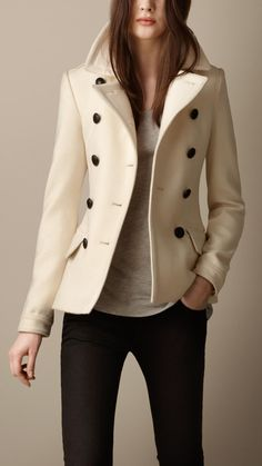 Burberry Wool Cashmere Pea Coat in Beige (natural white) | Lyst