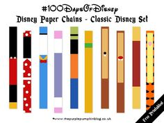 Disney Paper Chains - a fun FREE printable for Disney fans everywhere! Great as a party decoration, or to use as a countdown to a Disney vacation! Disney World Tips And Tricks, Disney Tips, Disney Love, Disney Magic, Disney Stuff, Disney Secrets, Walt Disney World, Disney World Vacation, Disney Vacations