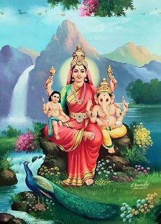Goddess Art, Goddess Lakshmi, Hindu Deities, Hinduism, Mysore Painting, Krishna Lila, Lord Shiva Family, Lord Murugan, Ganesha Art