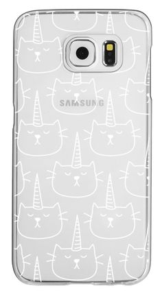 Casetify Galaxy S6 Classic Snap Case - Caticorn - Cat - Unicorn - Pattern - White - Transparent by Happy Cat Prints #Casetify