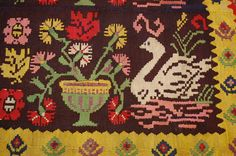 C1920s Antique Colorful Bessarabian Kilim Rug 5 5x8 4 Detailed Swan Subjects | eBay