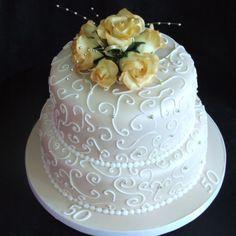 Anniversary Cake Ideas | two-tier-50th-anniversary-cake