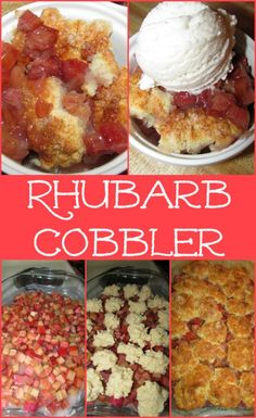 Rhubarb Cobbler Inspired by the Pioneer Woman is part of Rhubarb desserts - rich cherry like cobbler! Rhubarb Desserts, Rhubarb Cake, Köstliche Desserts, Delicious Desserts, Yummy Food, Frozen Rhubarb Recipes, Strawberry Rhubarb Cobbler, Rhubarb Crumble, Fruit Recipes