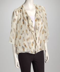 Take a look at this Cream Feather Open Cardigan by Miss Finch on #zulily today!