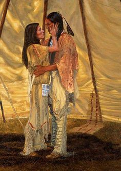Native american warrior and maiden in teepee.  Love