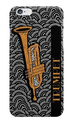 """""""Trumpet Tunes"""" (iphone case) by Cecely Bloom  #trumpet #tunes #art #poster #artprint #music #instrument #musical #horn #blow #brass #wind #jazz #salsa #reggae #band #bigband #marching #school #orchestra #classical #song #musician #player #group #quintet #gift #idea #bandmember #iphone #case #cover #phone"""