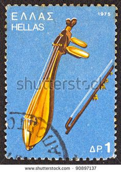 "GREECE - CIRCA 1975: A stamp printed in Greece , from the '""traditional musical instruments"" issue shows a Cretan lyra."