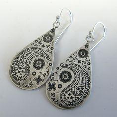 Sterling Silver Paisley Teardrop Earrings. $65.00, via Etsy.