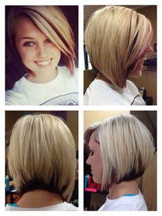 asymmetrical bob. blonde with red peekaboo.