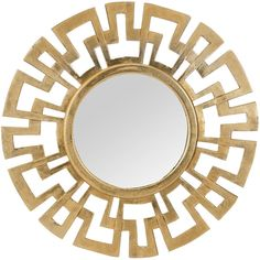 Cast Greek Key Mirror (1.185 BRL) ❤ liked on Polyvore featuring home, home decor, mirrors, mirror, metal home decor, modern home decor, greek key mirror, antique gold mirror and modern mirror
