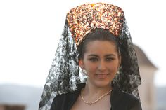 Spanish Woman wearing the mantilla during Holy Week in Jumilla, Murcia, Spain