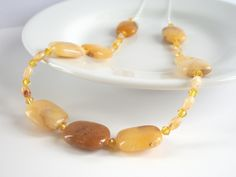 Golden Jade & Yellow Swarovski Crystal Sterling Silver Necklace by Purple Wyvern Jewels