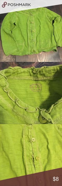 Carter's Girls Lime Green Cardigan Lime green button up cardigan. Looks adorable with a white tshirt and jeans, or a denim dress! Carter's Shirts & Tops
