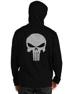 "Men's ""Punisher Skull"" Zip Up Hoodie by Fifty5 Clothing (Black) #inkedshop #punisherskull #zipup #hoodie #black #cozy"