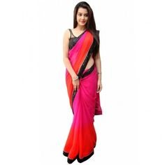 Georgette Lace Work Pink Plain Saree - Z219