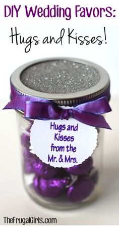 Very cute idea for wedding favors. Using the right color and who doesn't love kisses? DIY Wedding Favors: Hugs and Kisses from the Mr. and Mrs.! ~ at TheFrugalGirls.com #bridal #wedding #weddings