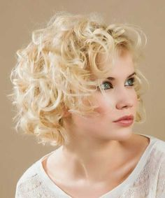 Short Curly Formal Shag Hairstyle with Layered Bangs - Light ...