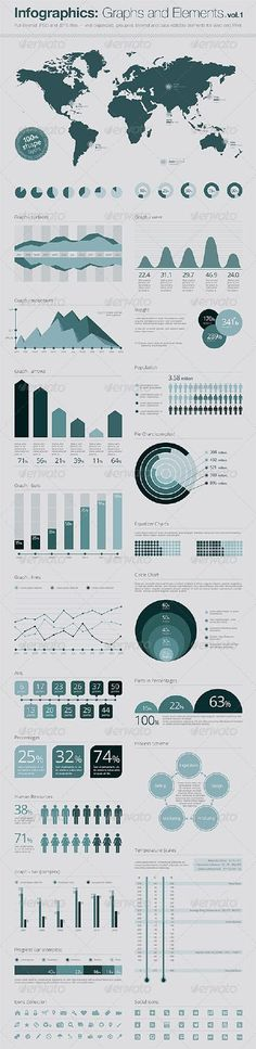 Infographics Elements: Vector Graphs and Elements by MrCherry This is conceptual and special infographics template for your any type design. Here you can find professional graphic elements, w Graphisches Design, Graph Design, Chart Design, Layout Design, Design Trends, Diagram Design, Design Elements, Cv Inspiration, Graphic Design Inspiration