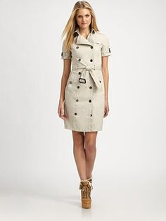 Burberry Brit - Double-Breasted Cotton Dress - Saks.com 22f9dc23a